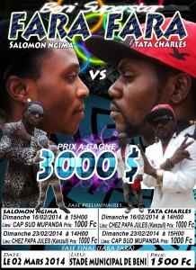 Une affiche annonçant un concours entre deux artistes de Beni.