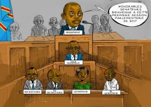 Caricature de Joseph Kabila, devenu président du sénat Congolais. Crédit: Edizon Musavuli